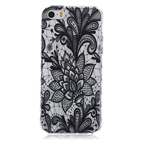 iPod Touch 6 / 5 Case with Henna Mandala Floral Paisley Tribal Pattern , UZZO Ultra Thin TPU Case Transparent Skin Bumper Silicone Back Case Cover for iPod Touch 5 6th Generation (Black Flower)