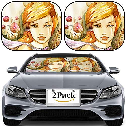 MSD Car Sun Shade for Windshield Universal Fit 2 Pack Sunshade, Block Sun Glare, UV and Heat, Protect Car Interior, Watercolor Illustration of a Portrait of a Girl in Summer Image ID 11320431