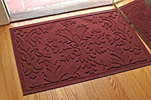 Aqua Shield Damask Mat, 2 by 3-Feet, Bordeaux