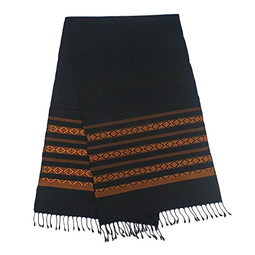 NOVICA Black and Orange Floral Cotton Table Runners, 'Saffron Lamphun Blossom' (Runners Table Unusual)