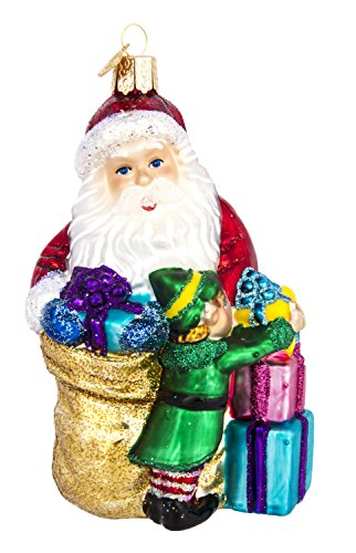 Old World Christmas - Santa's Bright-Eyed Buddy Ornament - Hand Painted Blown Glass - For Fake and Real Trees