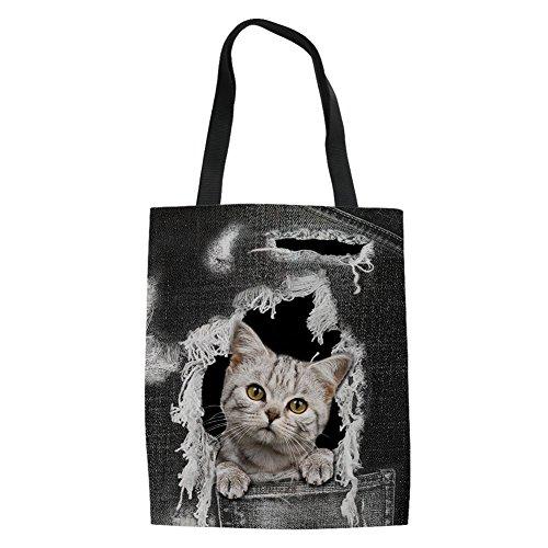 Face Pocket Outdoor Pet8 Shopping Travel Cotton HUGS Bag Beach Hand Shoulder Bag IDEA Cat Bag Tote Ladies ZwnREA