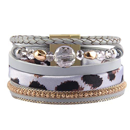 (Jenia Women Leather Cuff Bracelet Multi Strand Wrap Around Bracelets Charm Leopard Skin Boho Bracelet for Girls, Mother, Wife, Ladies Gift)