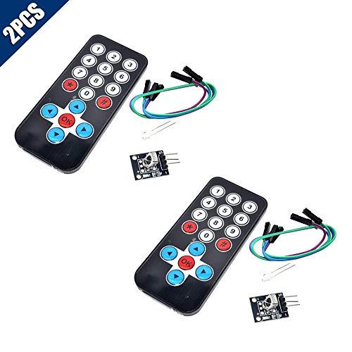 KOOBOOK 2Pcs Infrared IR Wireless Remote Control Sensor Module Kits for Arduino(Remote Control + Receiver Board)
