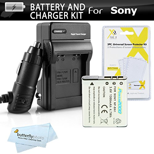 Replacement Sony NP-BN1 Extended Rechargeable Battery and...