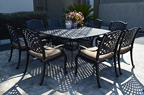 - Nassau Outdoor Patio 9-pc Dining Set 64 X 64 Cast Aluminum (9-pc Set (with 8 Regular Chairs), Walnut)