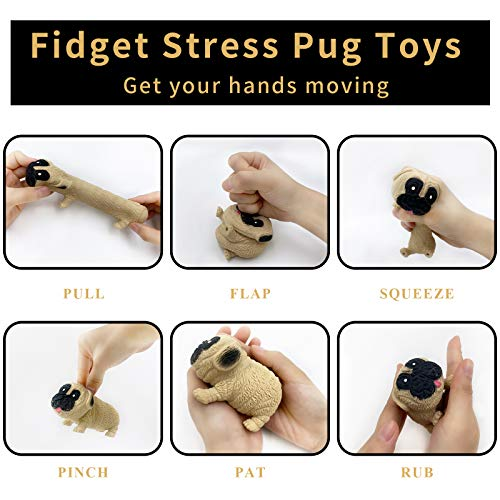 Sensory Fidget Toy Set - Simple Dimple Fidget Popper and Squishies Fidget Pug Toy Stress Relief and Anti-Anxiety Puzzle Fun Tools for Adults, Kids, Boys and Girls (Beige)