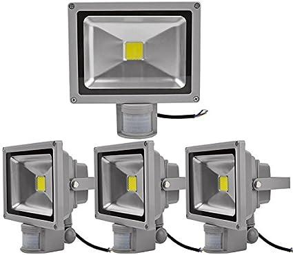 4pcs 50W Foco LED con Sensor Movimiento,ALPHA DIMA Foco Proyector con Iluminación LED y