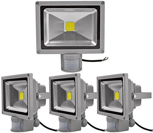 4pcs 50W Foco LED con Sensor Movimiento,ALPHA DIMA Foco Proyector con Iluminación LED y PIR Sensor de Movimiento(50 Watts,Blanco Frío),Resistente al ...