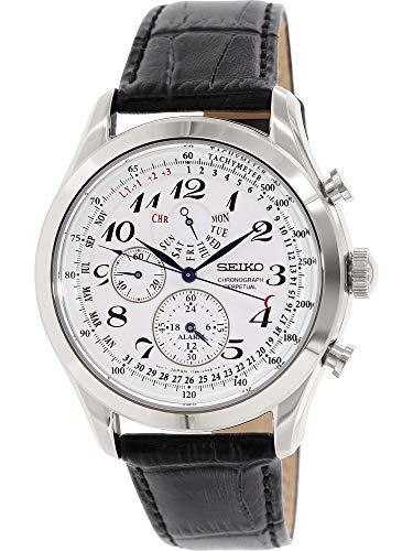 Seiko Men's SPC131P1 Neo Classic Alarm Perpetual Chronograph White Dial Black Leather Strap Watch -