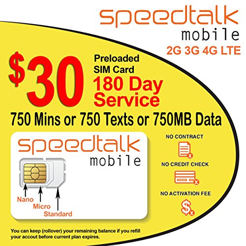 Preloaded $30 Prepaid GSM SIM Card Rollover 750 Minutes Talk Text Data 180-Day Wireless Service