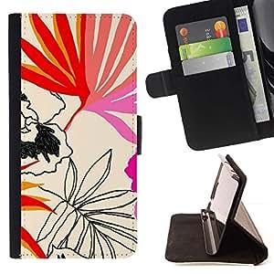 Momo Phone Case / Flip Funda de Cuero Case Cover - Hojas Patrón Arte Naturaleza Verano - Sony Xperia M4 Aqua