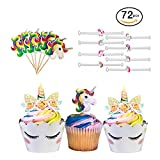 Unicorn Cupcake Toppers and Wrappers | Our 72 Piece Unicorn Birthday Party Supplies Bundle Includes Two Sided Rainbow Cupcake Decorations, Unicorn Emoji Bracelets, and Unicorn Themed Toothpicks