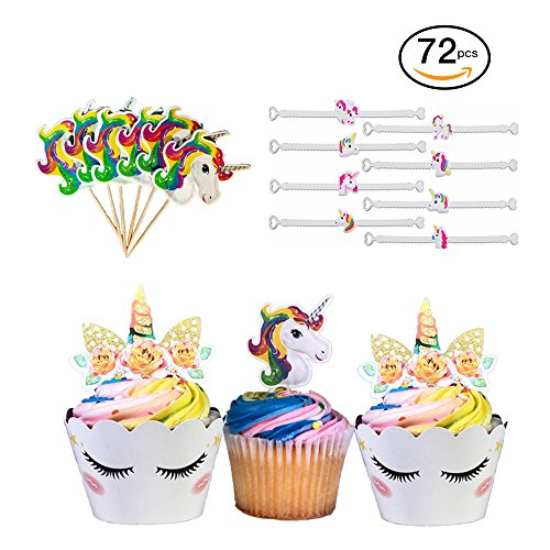 Unicorn Cupcake Toppers and Wrappers | Our 72 Piece Unicorn Birthday Party Supplies Bundle Includes Two Sided Rainbow Cupcake Decorations, Unicorn Emoji Bracelets, and Unicorn Themed Toothpicks for $<!--$14.99-->