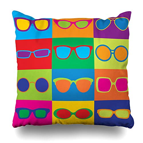 "DIYCow Throw Pillow Cover Pillowcase Pattern Styled Generic Eyeglass Sunglasses Eye Frames Eighties Home Decor Design Square Size 16""x16"" Zippered Cushion Case"