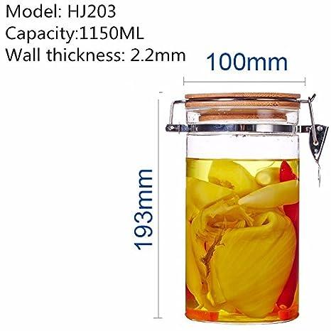 WJIANLL Bambú cubierta sellada vidrio tarro té hierbas frutos secos snacks botellas de almacenamiento de cocina frasco, 100 * 193MM, 1150ML: Amazon.es: ...