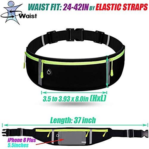 Y&R Direct Fanny Pack for Men Running Belt Pouch Waist Bag Workout Belt for Apple iPhone XR XS 8 X 7+ Samsung Note Galaxy Running Walking Cycling Gym-05BK (Black-001)