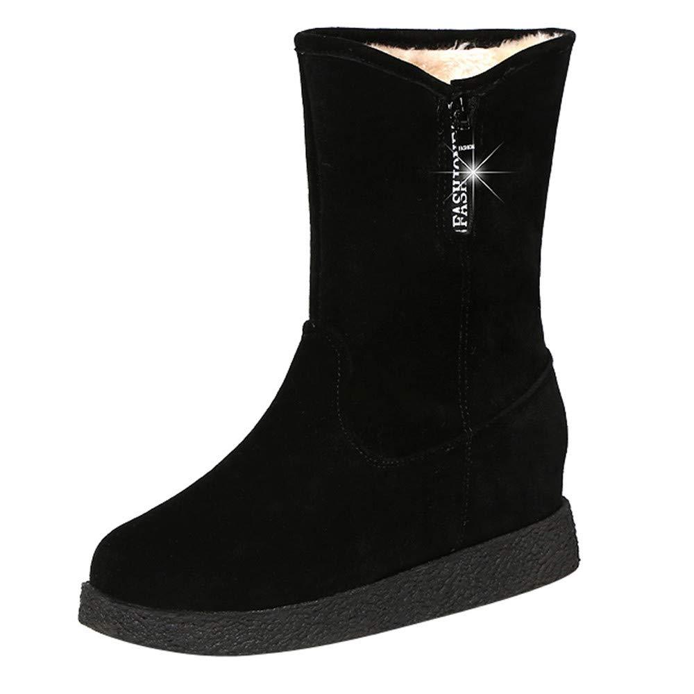 Damen Schneestiefel Kurzschaft, Sunday Frauen Stiefel mit Keilabsatz Schlupfstiefel Winterschuhe Dick Plü sch Stiefel Warm Snow Boots 34-39