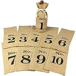 1 to 10 Burlap Wine Bags Blind Tasting, Wine Bags Wedding Table Numbers, Wine Tasting Bags, Set of 10