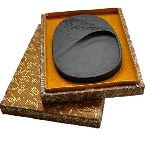 Natural Inkstone Calligraphy Tools Six-inch Greeting Songseitai Engraving Inkstone Ebony Inkstone Grinding Supplies Christmas Gifts by GHGJU