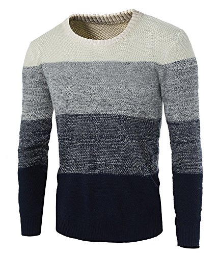 Zicac Men's Casual Fashion Pullover Sweater Assorted Color Knitwear (US:M(Asian Size Tag XL), Beige)