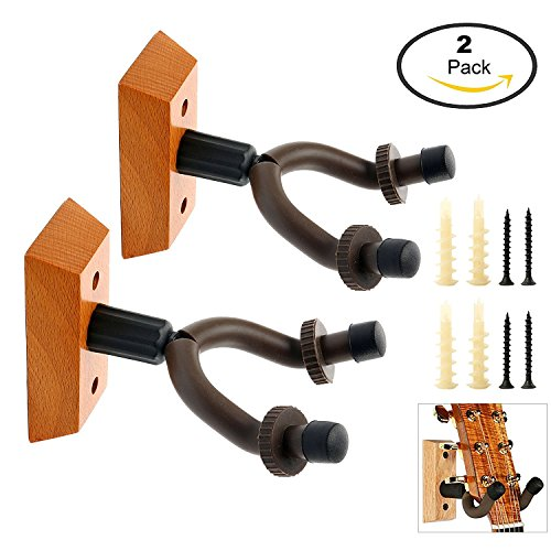 YaeTek 2-PACK Hardwood Home & Studio Acoustic Electric Guitar Hanger Holder Rack Wall Mount, Guitar Keeper