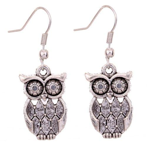 YAZILIND y Latticed Pattern Owl Ear Wire Hook Dangle Animal Earrings