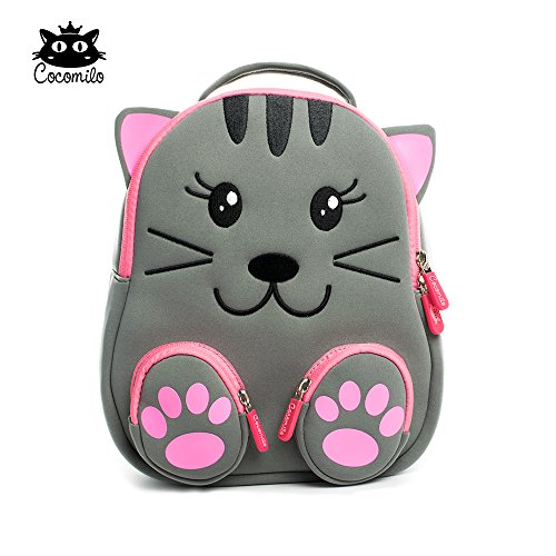 "Cocomilo 12"" Cute 3D Toddler Kids Backpack for Boys Girls Leash Name Label (Grey cat)"