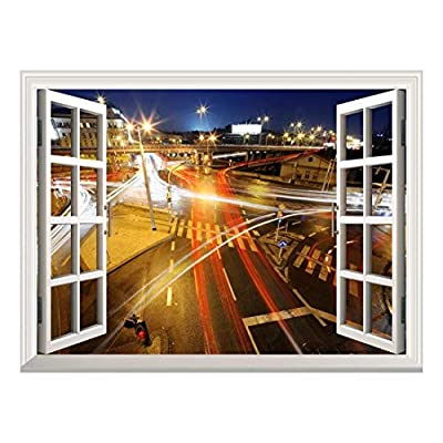 Removable Wall Sticker Wall Mural City Traffic at Night Creative Window View Wall Decor, Classic Design, Pretty Visual