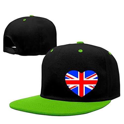British Flag In Heart Shape Hip Hop Baseball Caps Comfortable Flat Bill Plain Snapback Hats KellyGreen