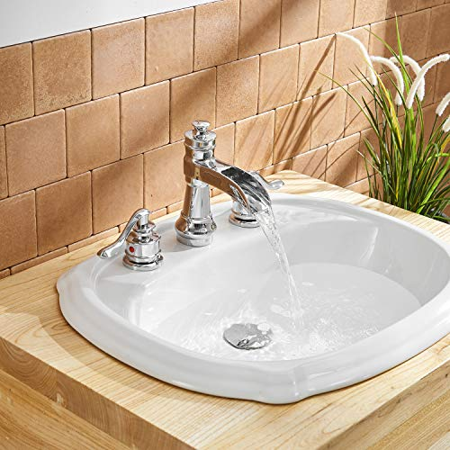 BWE Waterfall 8-16 Inch 3 Holes Two Handle Widespread Bathroom Sink Faucet Chrome by BWE (Image #5)
