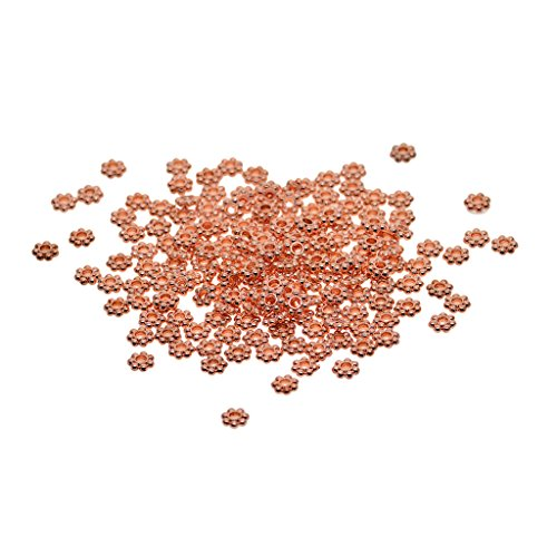 (MagiDeal 100 Pieces Rosegold Snowflake Alloy Spacer Beads Daisy Flower Beads Jewelry Findings Accessories for Bracelet Necklace Earring Jewelry Making, 6mm/5mm Diameter - 5mm)