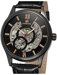 Gute Classic Skeleton Men's Mechanical Wristwatch Hand-Wind Silver Black PU Band