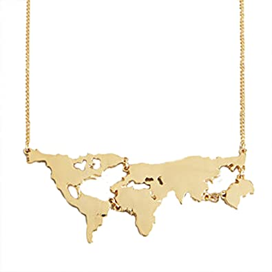 Amazon mjartoria world map charm pendant necklace gold color mjartoria world map charm pendant necklace gold color gumiabroncs Image collections