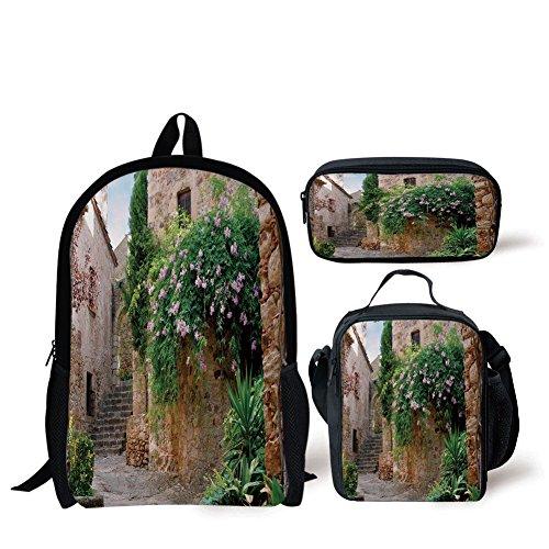 iPrint School Lunch Pen Bags,Landscape,Summer Garden Flowers Marigold Stones Antique Ancient House in Spain Art Print,Multicolor,3 Piece Set