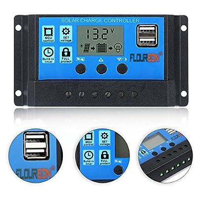 FLOUREON 10A/20A/30A Solar Charger Controller Solar Panel Battery Intelligent Regulator with USB Port LED Display 12V/24V