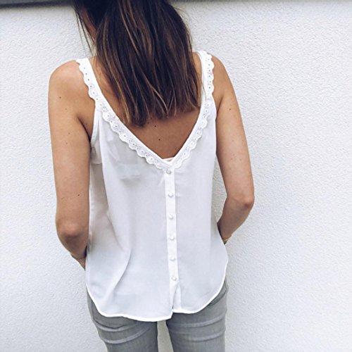 Cou T LuckyGirls Top V Sexy Creux sans Femmes Shirt Blanc Veste d'été Casual A Manches PPt0Fqx