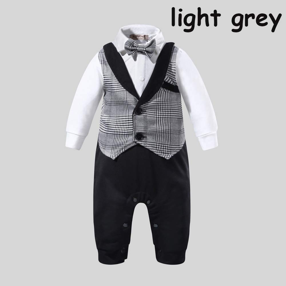 wuwei 2 Colors Baby Boy Romper False Two Suit Gentleman Style Clothe with Bow Tie for 0-24 Months Dark Grey,0-6month