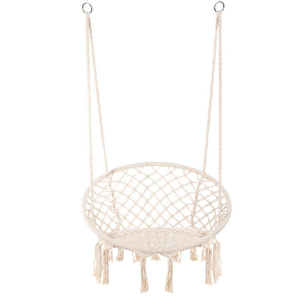 E EVERKING Hammock Chair Macrame Swing, Hanging Cotton Rope Macrame Hammock Swing Chair for Indoor, Outdoor Home, Patio, Porch, Deck, Yard, Garden, Max Weight: 260 Pounds (Beige)