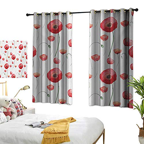 (LsWOW Bedroom Curtains W72 x L45 Flower,Blossom Poppy Springtime Backyard Classical Design Curvy Stylish Artwork Print,Cocnut and Red BedroomRoom Darkening,Blackout Curtains Room/Kid's)