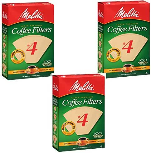 Melitta Cone Coffee Filters Natural Brown #4 300 count , 3 Pack