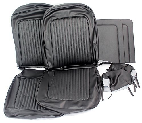 TMI 43-70209-3722-3437 Mustang Front Black Corinthian/Kiwi Grain Vinyl Upholstery (Coupe, Convertible/Sportsroof, with bucket seats) (Front Panels Door Tmi)