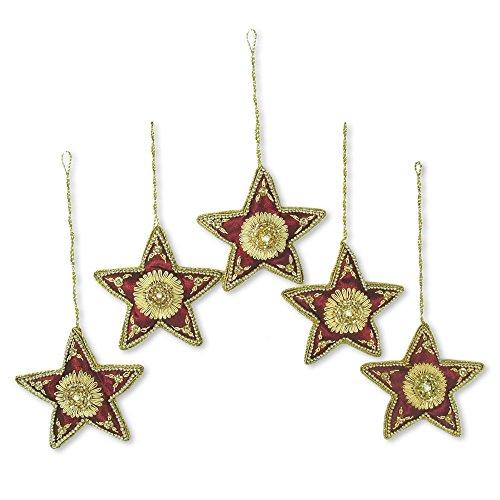 NOVICA Decorative Polyester Scarlet Stars' (Set of 5) Beaded Ornaments