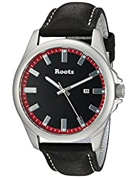 Roots Men's 'Core' Quartz Stainless Steel and Leather Casual Watch, Color:Black (Model: 1R-LF410RE2B)