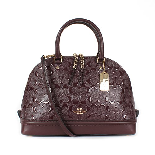 Coach Large Sierra Satchel in Signature Debossed Patent F55449 (IM/Oxblood) (Coach Purse Wallet Set)