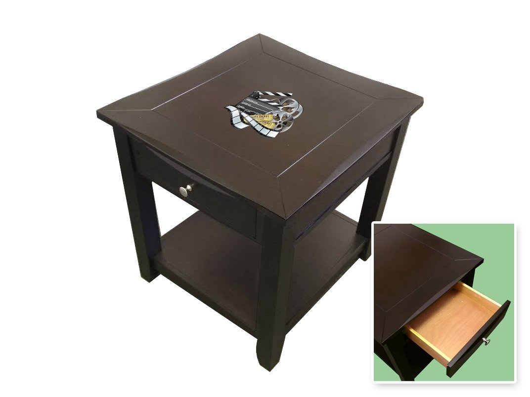 New Espresso / Cappuccino Finish End Table Night Stand featuring your choice of Themed logo!
