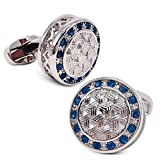 VIILOCK Round Woven Pattern with Shiny Crystal Cufflinks Wedding Gift for Men (Silver)