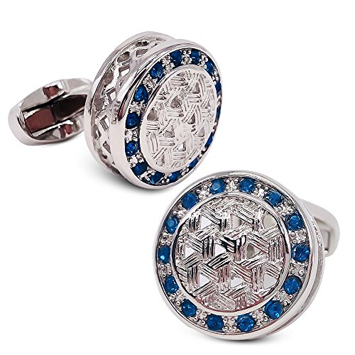 Cufflinks Crystal Round (VIILOCK Round Woven Pattern with Shiny Crystal Cufflinks Wedding Gift for Men (Silver))