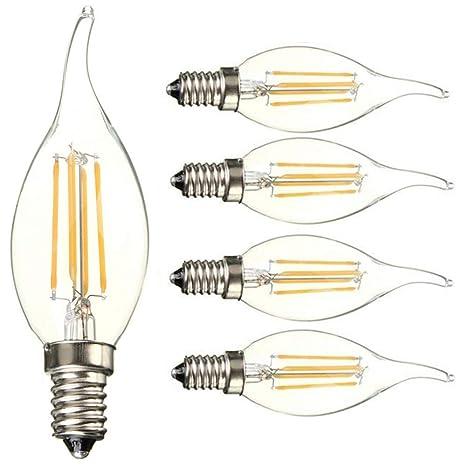 5 pcs 4 W E14 Bombillas de Filamento LED Lámpara de luz (AC 220 - 240 V LED COB (Luz Blanca Cálida, 3000 K, 4 W 450Lumen, 45 W Equivalente 360 grados ...