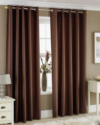 Homefab India's Set of 2 Royal Silky Coffee Window Curtains(HF043) 5X4ft.
